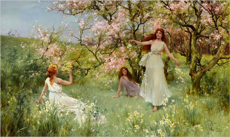 Albert Augustus Glendening (British, 1840-1921) The first days of spring. 1896
