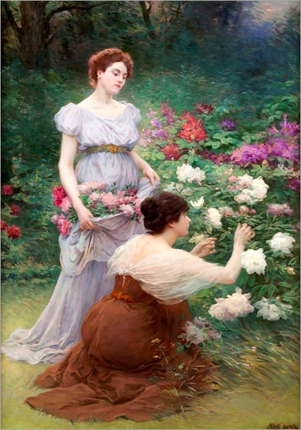 Albert Lynch (1851-1912) Two young women in the Rose Garden