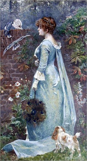 Arthur Wardle (1864-1949) watercolour- In an Old Garden