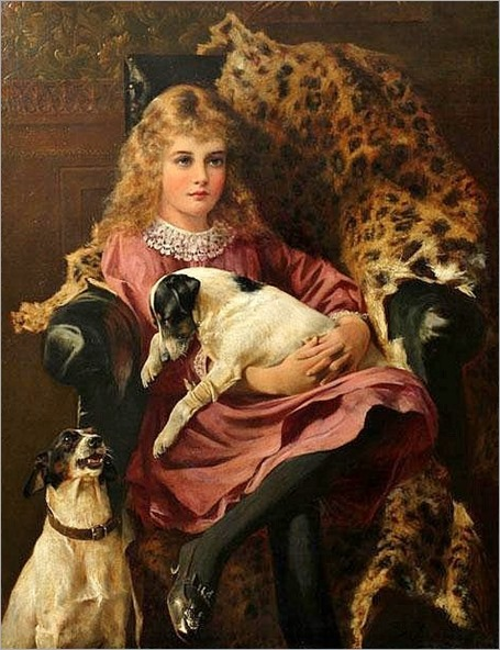 ARTHUR WARDLE [BRITISH 1864-1949]- GIRL WITH DOGS