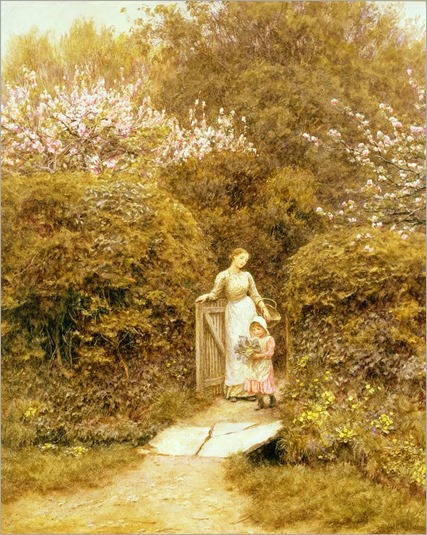 at-the-cottage-gate-helen-allingham