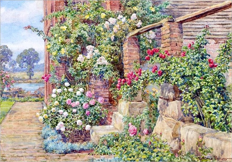 Beatrice Emma Parsons (British painter) 1869 - 1955-climbing roses