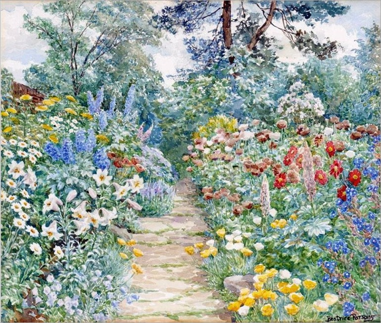 Beatrice Emma Parsons (British painter) 1869 - 1955-the summer garden