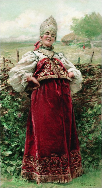by the fence-Konstantin Yegorovich Makovsky