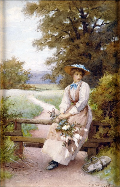 Charles Edward Wilson (1854 - 1941) Country Girl with Wild Flowers