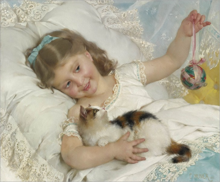 Emile Munier(1840-1895) - A Girl Playing with a Kitten
