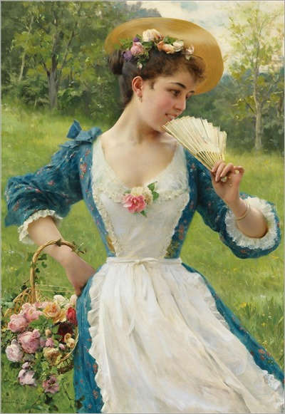 Federico Andreotti (1847-1930) Young beauty with a basket Roses