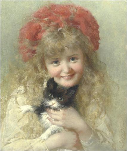 George Elgar Hicks (1824-1914) Her favorite pet. 1904