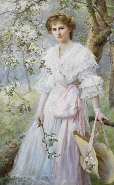 George Hillyard Swinstead (1860 - 1926) - Portrait of a girl amongst blossoms, 1905