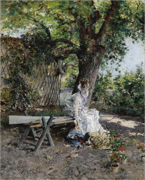 Giovanni Boldini (1842-1931) In the Garden. 1874