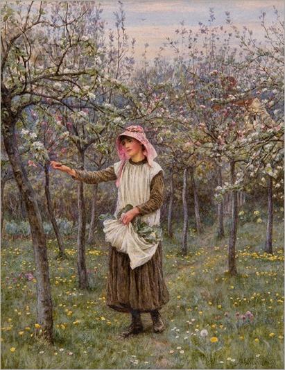 Helen Allingham, Blossom Time, c.1882, watercolour