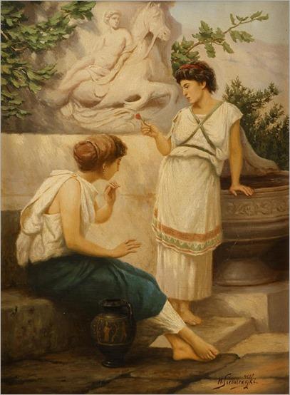 HENRYK SIEMIRADZKI, (POLISH-UKRANIAN 1843-1902)TWO GREEK WOMEN AT A FOUNTAIN