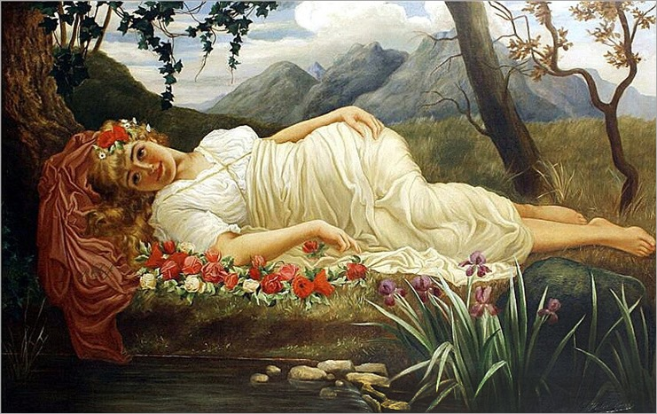 Herbert Blande Sparks_Portrait of a classical beauty on a bed of roses before a pond