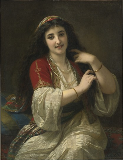 Hugues Merle (french, 1823-1881)-a turkish beauty