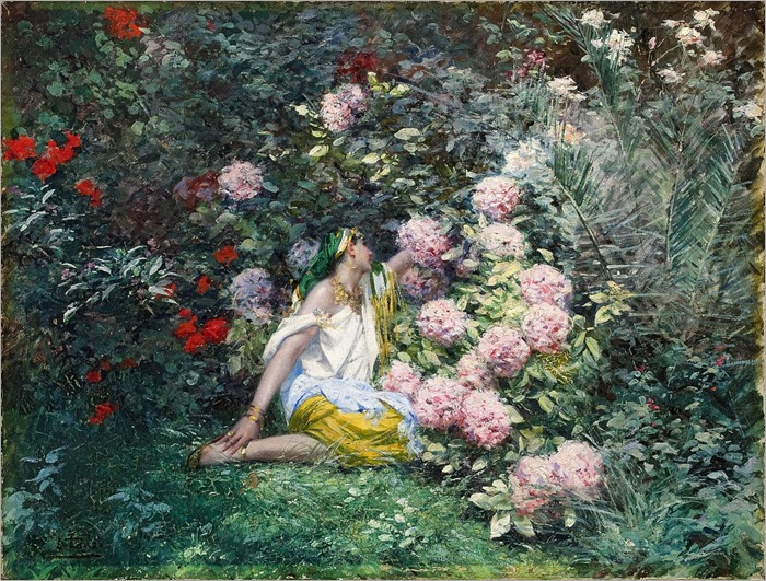 Jardin fleuri - Leon Tanzi (french painter)
