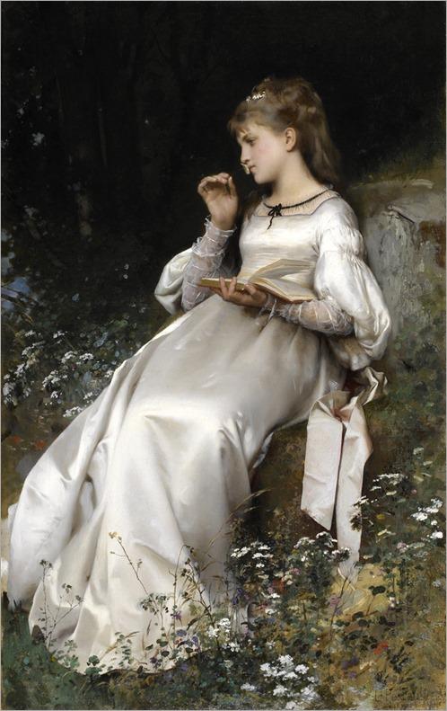 Jeune fille lisant une letter, 1877 by Léon Jean Basile Perrault
