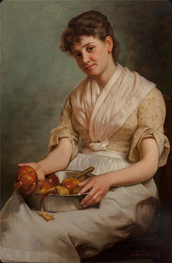 John George Brown (1831-1913) Girl Peeling Apples