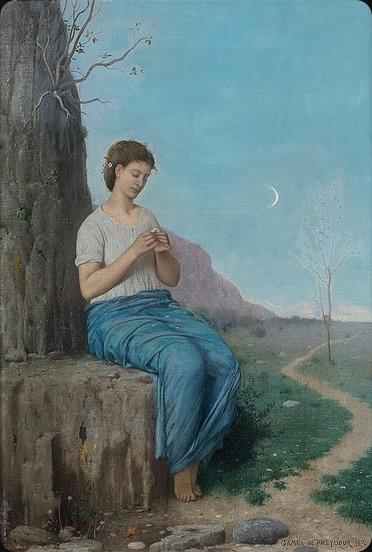Jules Alexandre GAMBA de PREYDOUR (Paris, 1846 -) Jeune fille effeuillant une marguerite