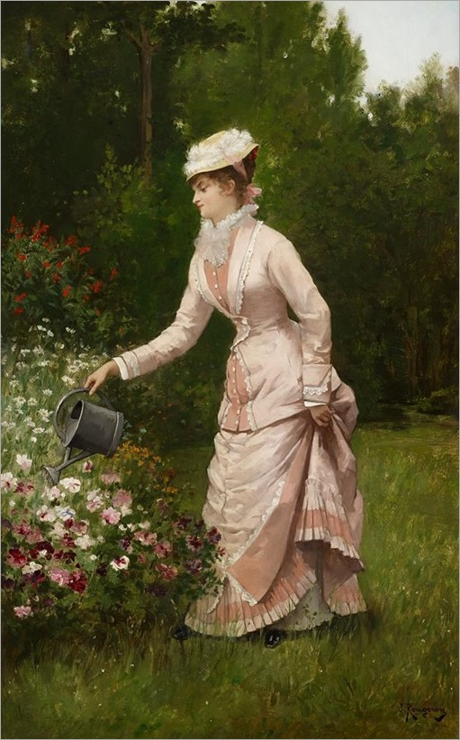 JULES JAMES ROUGERON, (FRENCH 1841-1880)IN THE GARDEN