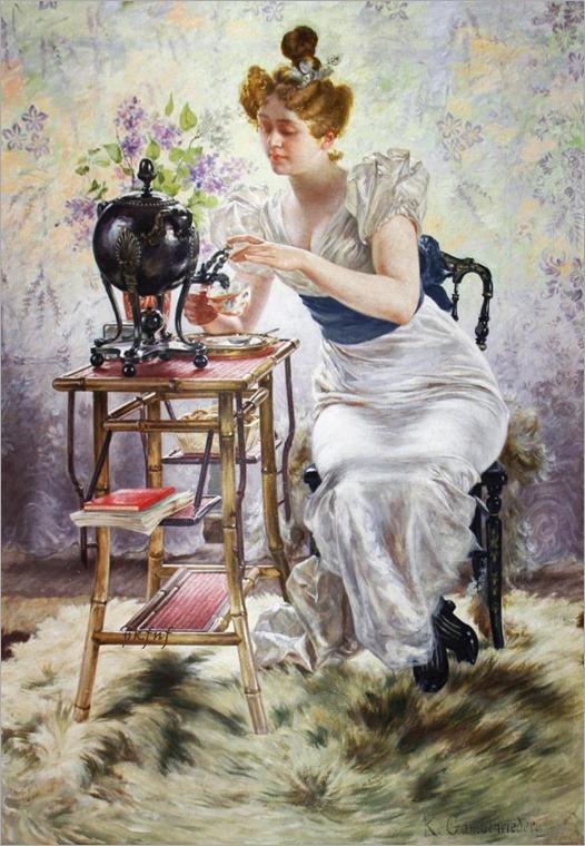 Karl Gampenrieder (German artist, 1860-1927)-Teatime