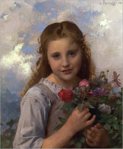 L_on Bazile Perrault - Young Girl with a Bouquet of Flowers