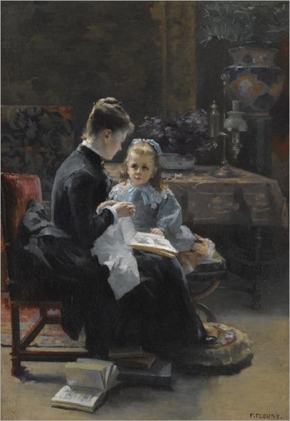 La leçon. Fanny Fleury (French, 1848-1905)