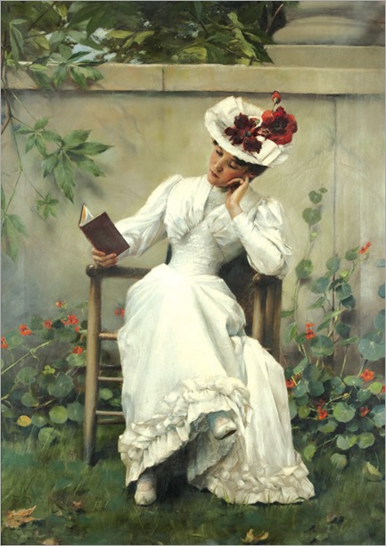 Lady with a book in the garden (1892). Brunner František Dvořák (1862-1927)