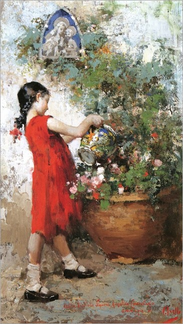 Little Girl in the Garden - Vincenzo Irolli - (Italian, 1860 - 1942)