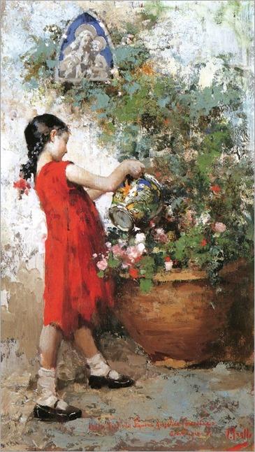 Little Girl in the Garden - Vincenzo Irolli - (Italian, 1860 - 1942)