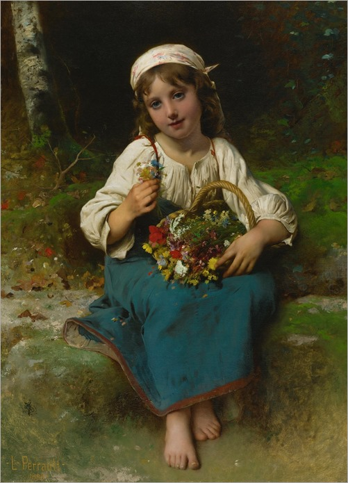 Léon Bazile Perrault_ Young Girl with a Basket of Flowers