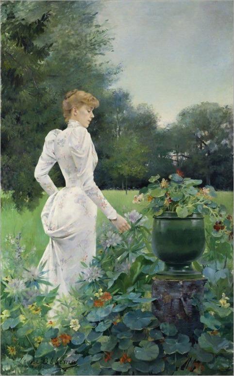 Louise Abbéma (1853-1927) -Dans les fleurs