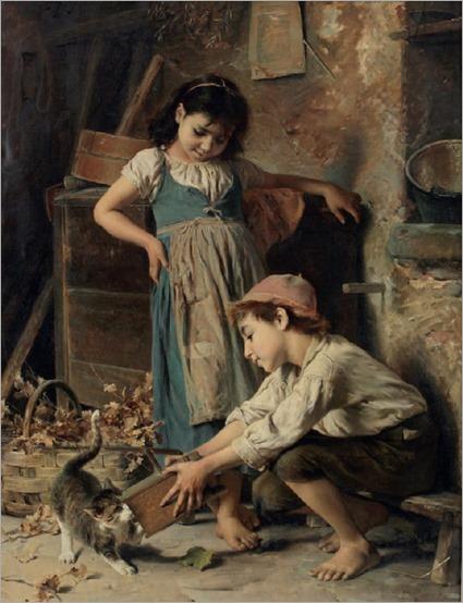 Luigi Bechi (1830-1919) Playtime