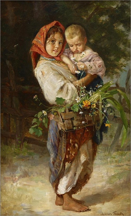 LUKIAN VASILIEVICH POPOV, (RUSSIAN 1873-1914), PEASANT GIRL WITH CHILD AND BASKET