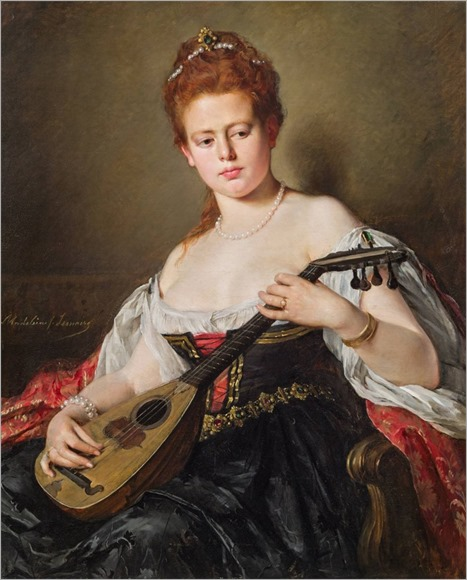 Madeleine Jeanne Lemaire (1845-1928) Lady with mandoline