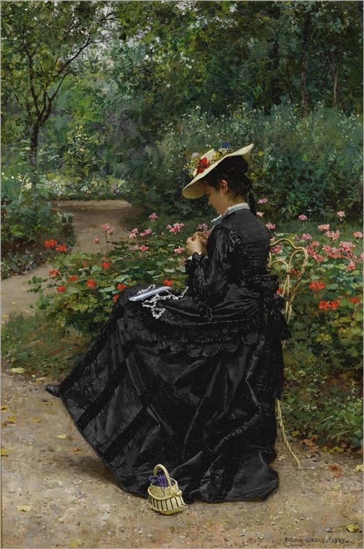 Marie-François Firmin-Girard (1838-1921) Woman Sewing in a Garden. 1875