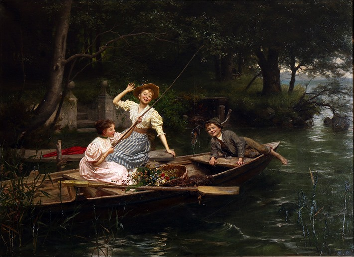 Marie Wunsch (austrian)_THREE CHILDREN IN A PUNT FISHING AN OLD SHOE