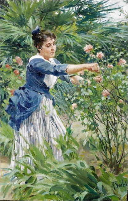 Pruning the Roses - Raffaello Sorbi (italian painter)