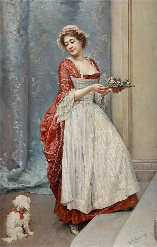 Raimundo de Madrazo y Garreta (1841-1920) Housewife with doggy