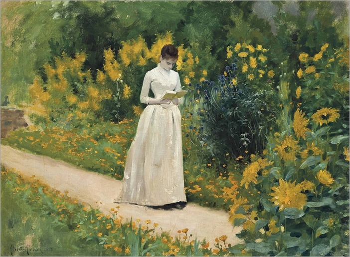 Reading on the garden path (1883). Albert Aublet (French, 1851-1938). Oil on canvas