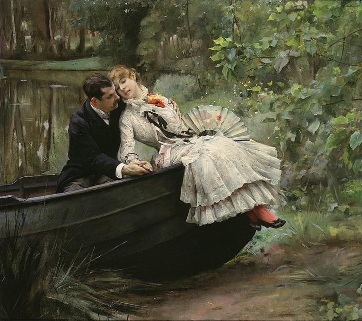 Stewart, Julius LeBlanc - A Romantic Embrace. ca. 1890-95