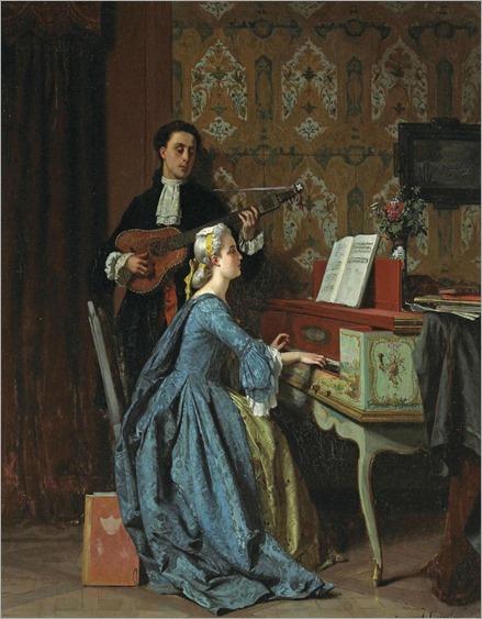 The duet (1860-1869). Jean Carolus (Belgian, 1814-1897). Oil on panel.
