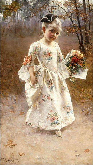 the-little-flower-girl-Albert Raudnitz (German, 1814-1899)
