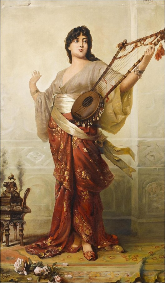 The Lute Player. Nathaniel Sichel (German, 1843-1907).