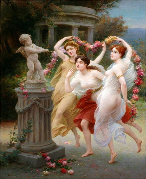 The Spring Dance. Jules Scalbert (French, 1851-1928). Oil on canvas