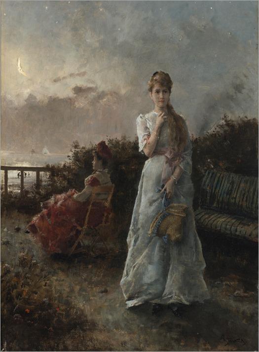 Une soir a la mer - Alfred Stevens (belgian painter)