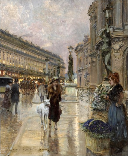 A flower seller outside the Paris Opera House -by-Geoges-Stein