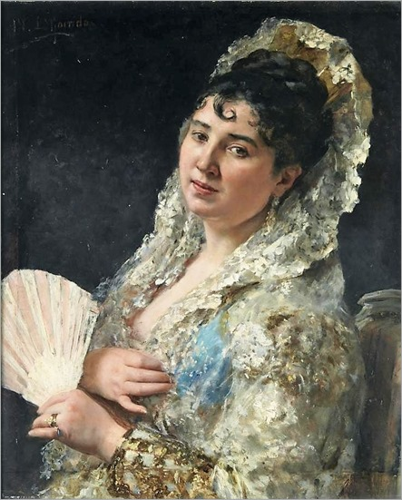 A portrait of a Spanish lady with a fan_Eduardo Leon Garrido