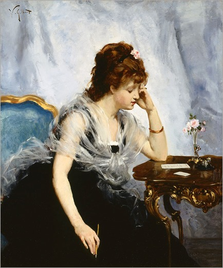 A Young Lady Writing a Letter - Victor Gabriel Gilbert (french painter)