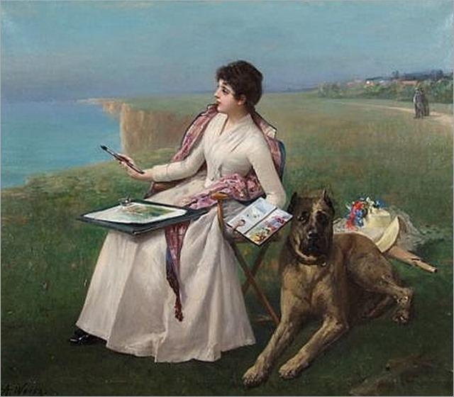 ADOLPHE WEISZ (Hungarian-French 1838-1900) Painting en plein air