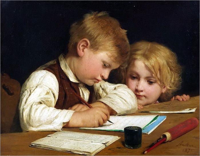 ALBERT ANKER (1831-1910) - Schreibender Knabe mit Schwesterchen